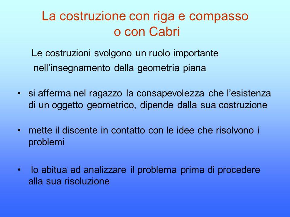 La costruzione con riga e compasso o con Cabri Le costruzioni svolgono un ruolo importante nell'insegnamento della geometria piana si afferma nel raga