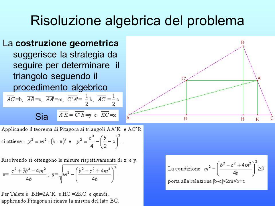Risoluzione algebrica del problema La costruzione geometrica suggerisce la strategia da seguire per determinare il triangolo seguendo il procedimento