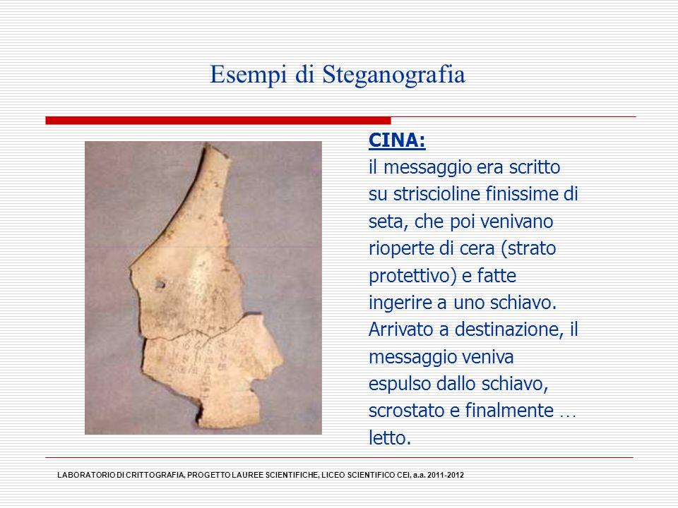 Esempi di Steganografia CINA: il messaggio era scritto su striscioline finissime di seta, che poi venivano rioperte di cera (strato protettivo) e fatt