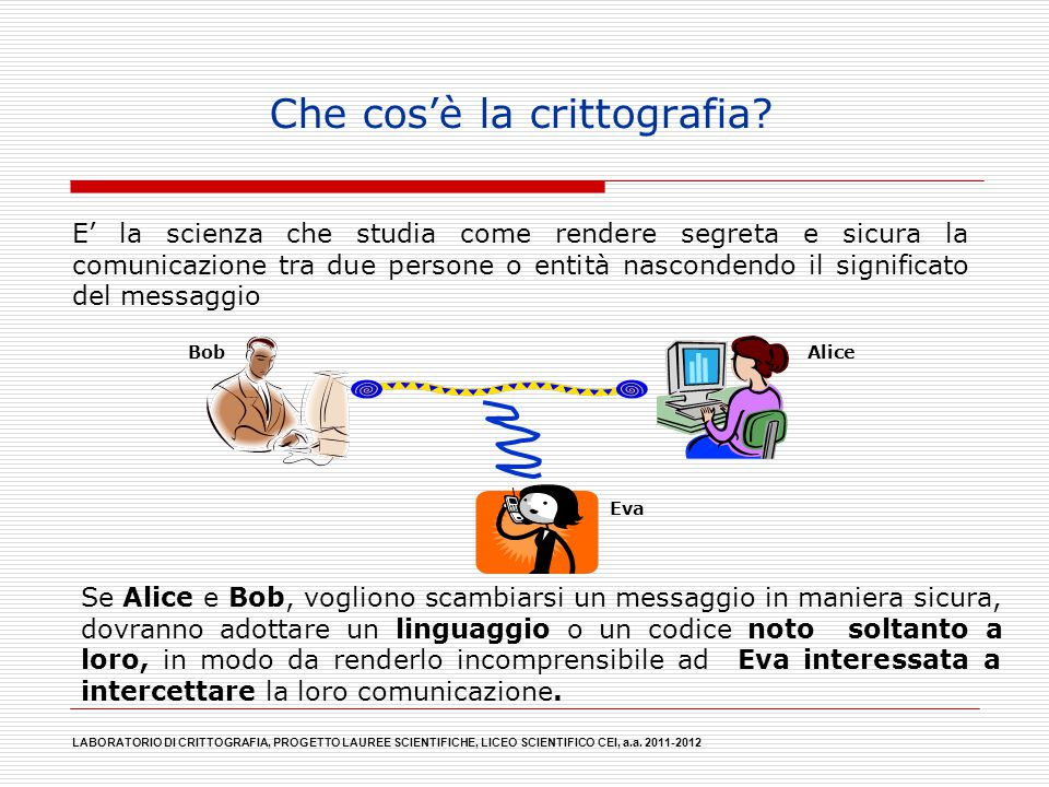 Che cos'è la crittografia? E' la scienza che studia come rendere segreta e sicura la comunicazione tra due persone o entità nascondendo il significato