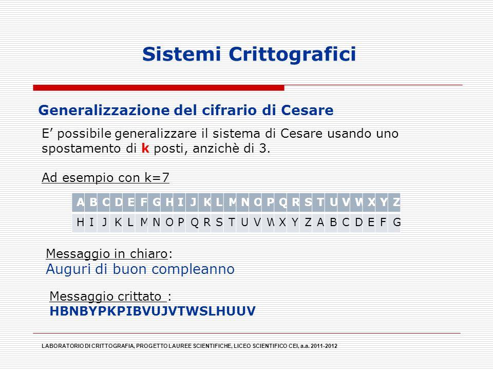 E' possibile generalizzare il sistema di Cesare usando uno spostamento di k posti, anzichè di 3. Ad esempio con k=7 Sistemi Crittografici LABORATORIO