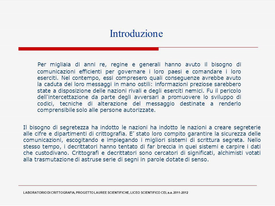 LABORATORIO DI CRITTOGRAFIA, PROGETTO LAUREE SCIENTIFICHE, LICEO SCIENTIFICO CEI, a.a. 2011-2012 Per migliaia di anni re, regine e generali hanno avut
