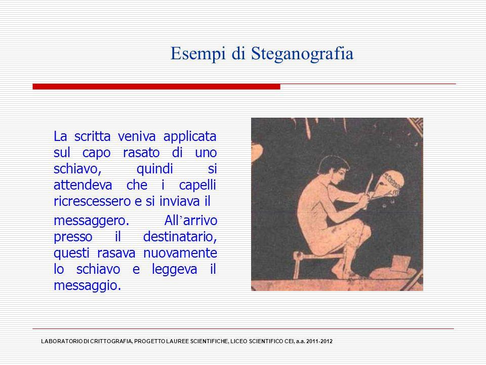 Esempi di Steganografia La scritta veniva applicata sul capo rasato di uno schiavo, quindi si attendeva che i capelli ricrescessero e si inviava il me