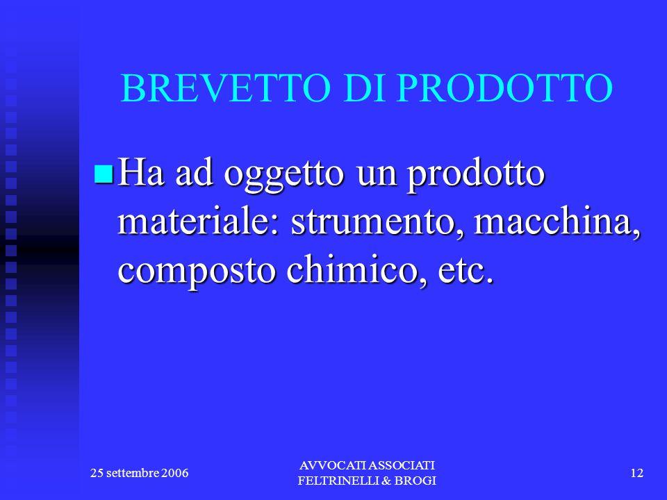 25 settembre 2006 AVVOCATI ASSOCIATI FELTRINELLI & BROGI 12 BREVETTO DI PRODOTTO Ha ad oggetto un prodotto materiale: strumento, macchina, composto chimico, etc.