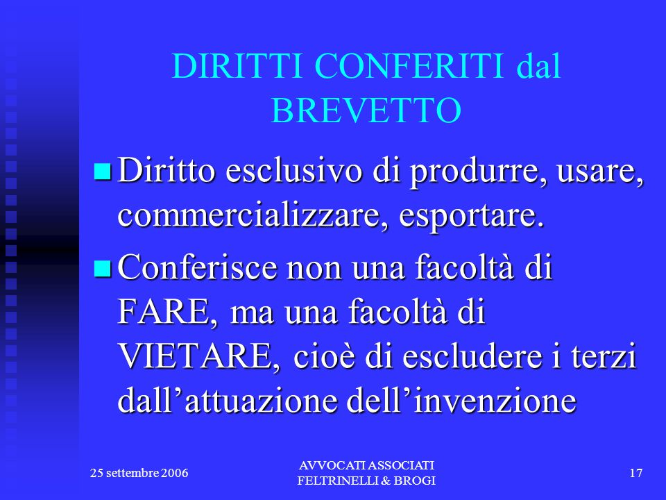 25 settembre 2006 AVVOCATI ASSOCIATI FELTRINELLI & BROGI 17 DIRITTI CONFERITI dal BREVETTO Diritto esclusivo di produrre, usare, commercializzare, esportare.