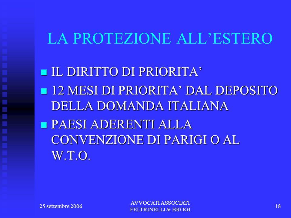 25 settembre 2006 AVVOCATI ASSOCIATI FELTRINELLI & BROGI 18 LA PROTEZIONE ALL'ESTERO IL DIRITTO DI PRIORITA' IL DIRITTO DI PRIORITA' 12 MESI DI PRIORITA' DAL DEPOSITO DELLA DOMANDA ITALIANA 12 MESI DI PRIORITA' DAL DEPOSITO DELLA DOMANDA ITALIANA PAESI ADERENTI ALLA CONVENZIONE DI PARIGI O AL W.T.O.