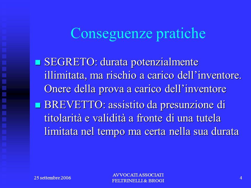 25 settembre 2006 AVVOCATI ASSOCIATI FELTRINELLI & BROGI 4 Conseguenze pratiche SEGRETO: durata potenzialmente illimitata, ma rischio a carico dell'inventore.