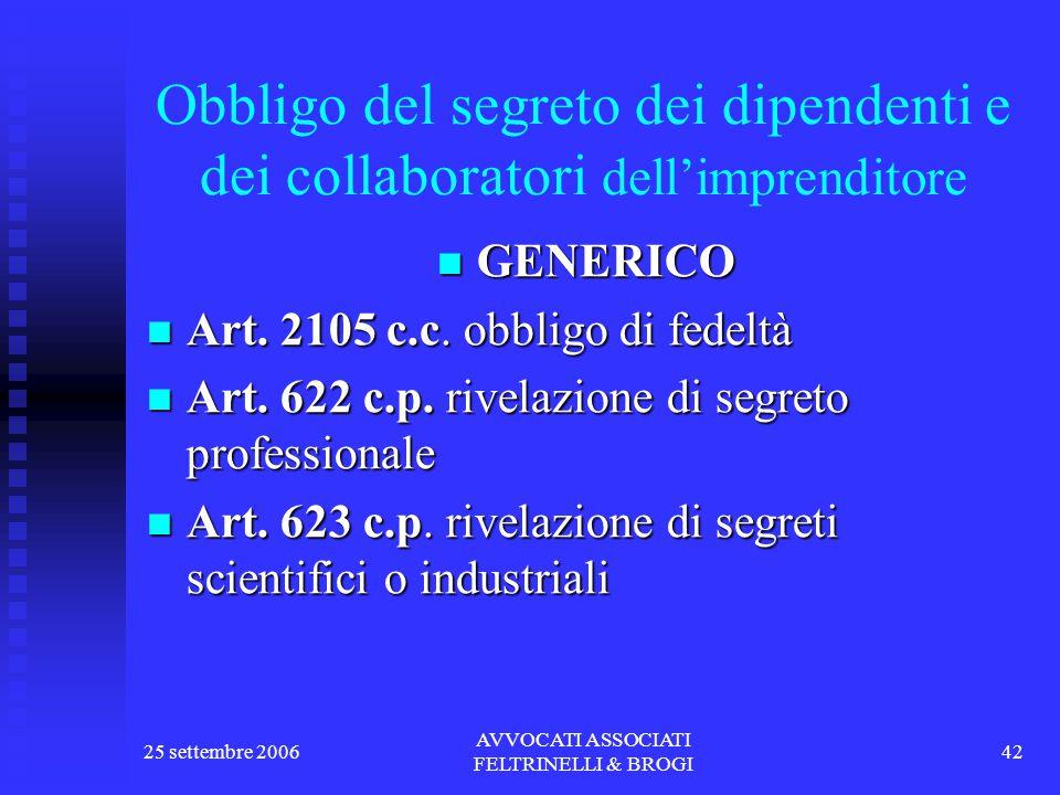 25 settembre 2006 AVVOCATI ASSOCIATI FELTRINELLI & BROGI 42 Obbligo del segreto dei dipendenti e dei collaboratori dell'imprenditore GENERICO GENERICO Art.