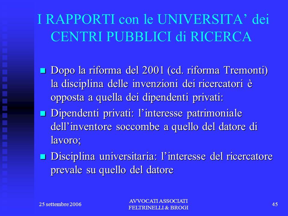 25 settembre 2006 AVVOCATI ASSOCIATI FELTRINELLI & BROGI 45 I RAPPORTI con le UNIVERSITA' dei CENTRI PUBBLICI di RICERCA Dopo la riforma del 2001 (cd.