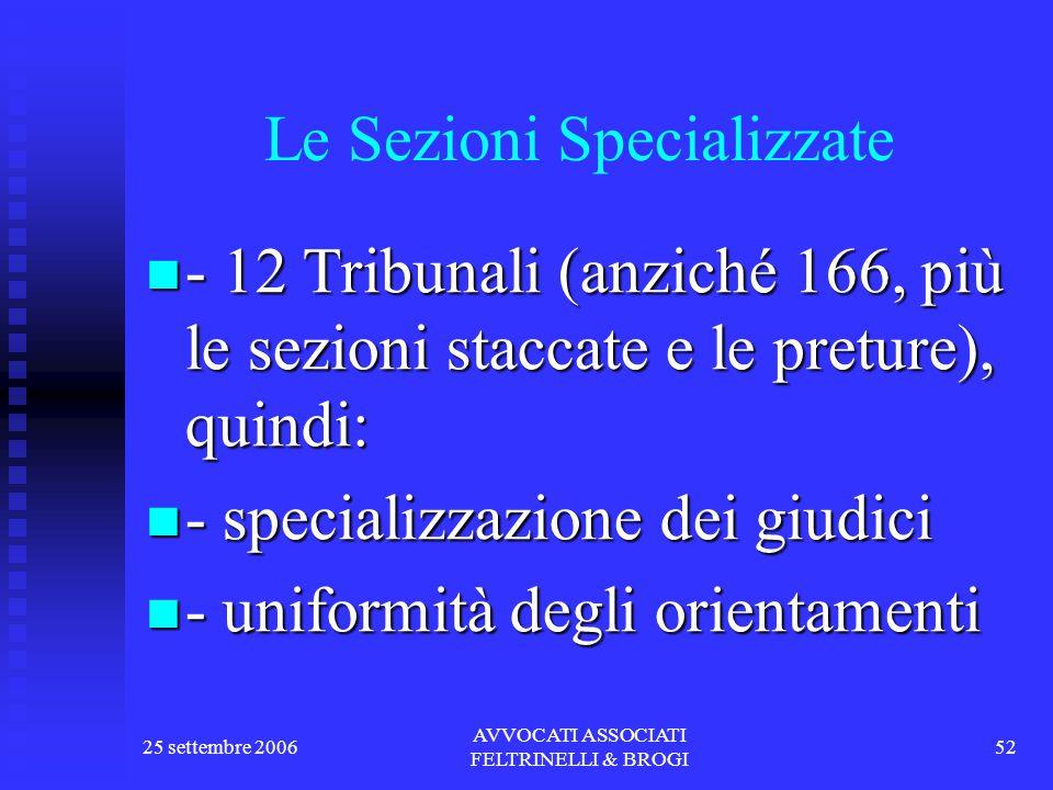 25 settembre 2006 AVVOCATI ASSOCIATI FELTRINELLI & BROGI 52 Le Sezioni Specializzate - 12 Tribunali (anziché 166, più le sezioni staccate e le preture), quindi: - 12 Tribunali (anziché 166, più le sezioni staccate e le preture), quindi: - specializzazione dei giudici - specializzazione dei giudici - uniformità degli orientamenti - uniformità degli orientamenti
