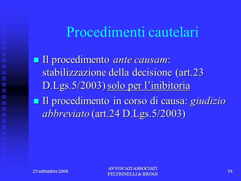 25 settembre 2006 AVVOCATI ASSOCIATI FELTRINELLI & BROGI 54 Procedimenti cautelari Il procedimento ante causam: stabilizzazione della decisione (art.23 D.Lgs.5/2003) solo per l'inibitoria Il procedimento ante causam: stabilizzazione della decisione (art.23 D.Lgs.5/2003) solo per l'inibitoria Il procedimento in corso di causa: giudizio abbreviato (art.24 D.Lgs.5/2003) Il procedimento in corso di causa: giudizio abbreviato (art.24 D.Lgs.5/2003)