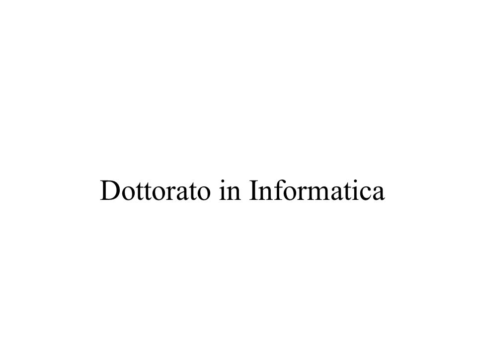 Dottorato in Informatica