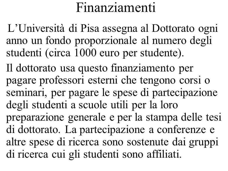 Finanziamenti L'Università di Pisa assegna al Dottorato ogni anno un fondo proporzionale al numero degli studenti (circa 1000 euro per studente).