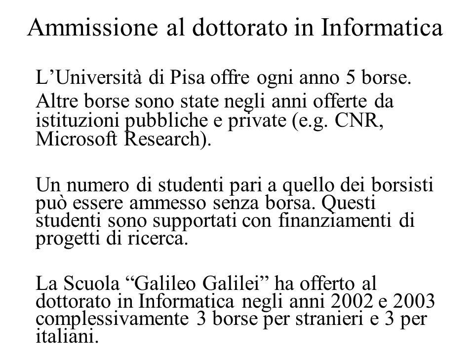 Ammissione al dottorato in Informatica L'Università di Pisa offre ogni anno 5 borse.