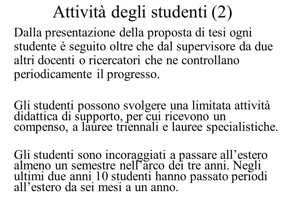 Attività degli studenti (3) La tesi è una monografia contenente risultati originali.