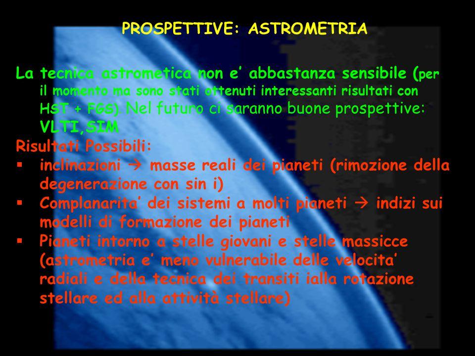 PROSPETTIVE: ASTROMETRIA La tecnica astrometica non e' abbastanza sensibile ( per il momento ma sono stati ottenuti interessanti risultati con HST + FGS).