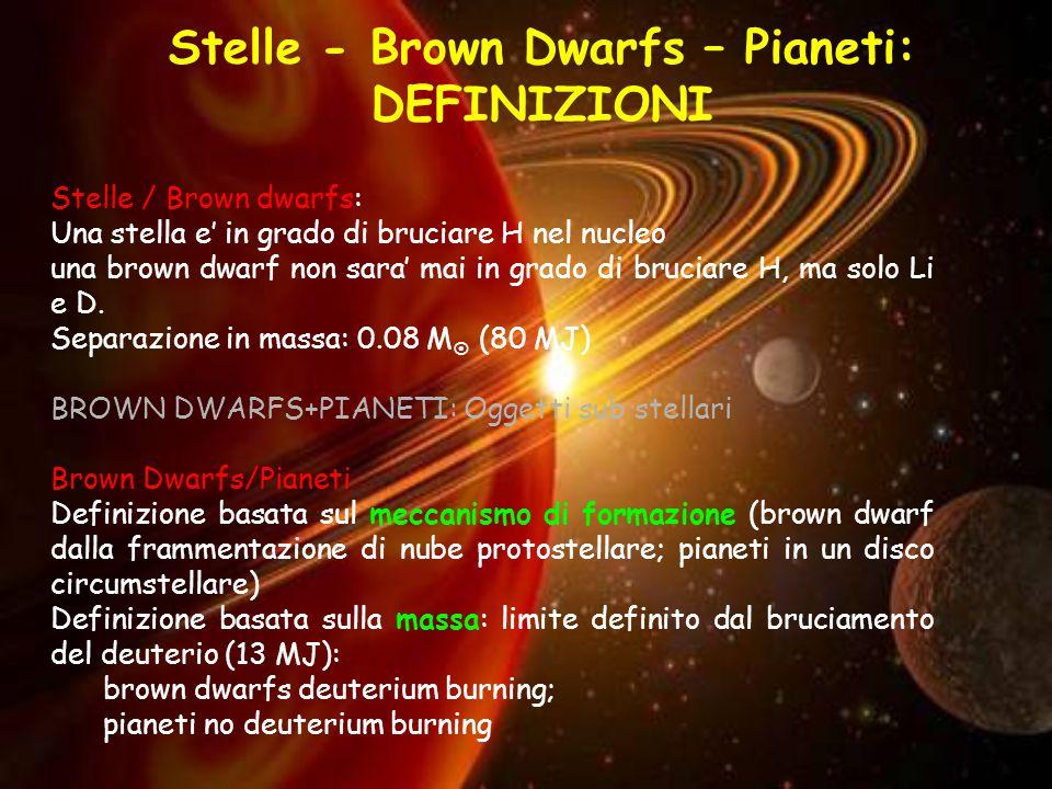 Stelle - Brown Dwarfs – Pianeti: DEFINIZIONI Stelle / Brown dwarfs: Una stella e' in grado di bruciare H nel nucleo una brown dwarf non sara' mai in grado di bruciare H, ma solo Li e D.