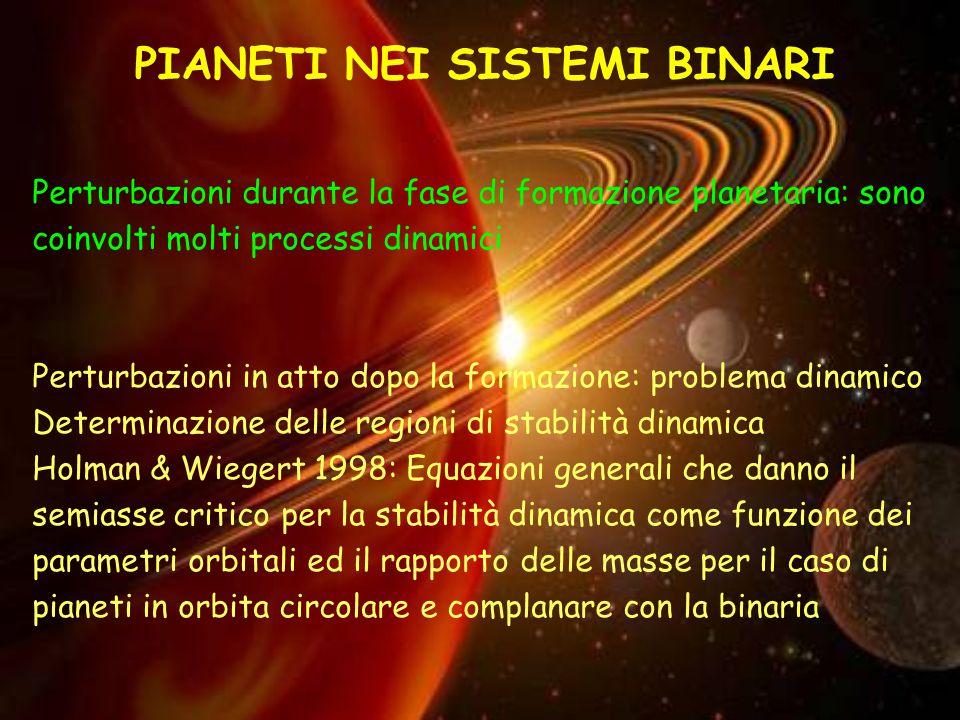 PIANETI NEI SISTEMI BINARI Perturbazioni durante la fase di formazione planetaria: sono coinvolti molti processi dinamici Perturbazioni in atto dopo la formazione: problema dinamico Determinazione delle regioni di stabilità dinamica Holman & Wiegert 1998: Equazioni generali che danno il semiasse critico per la stabilità dinamica come funzione dei parametri orbitali ed il rapporto delle masse per il caso di pianeti in orbita circolare e complanare con la binaria