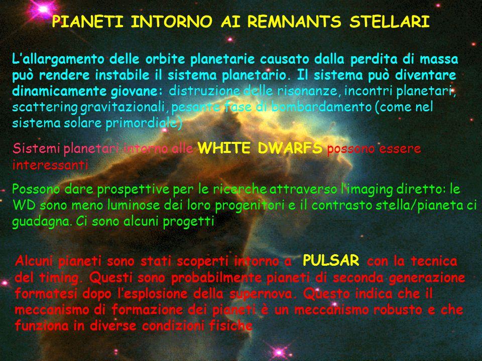 PIANETI INTORNO AI REMNANTS STELLARI L'allargamento delle orbite planetarie causato dalla perdita di massa può rendere instabile il sistema planetario.