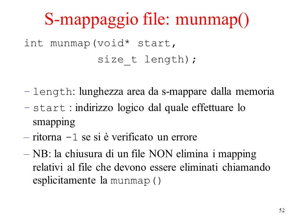 52 S-mappaggio file: munmap() int munmap(void* start, size_t length); –length : lunghezza area da s-mappare dalla memoria –start : indirizzo logico dal quale effettuare lo smapping –ritorna -1 se si è verificato un errore –NB: la chiusura di un file NON elimina i mapping relativi al file che devono essere eliminati chiamando esplicitamente la munmap()