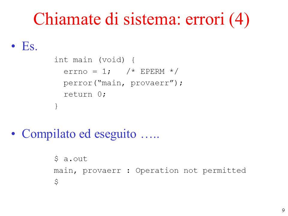 50 Mappaggio file: mmap (4) –ATTENZIONE: length deve essere un multiplo dell'ampiezza di pagina –l'ampiezza della pagina (in byte) si ottiene con la fne standard #include int getpagesize(void);