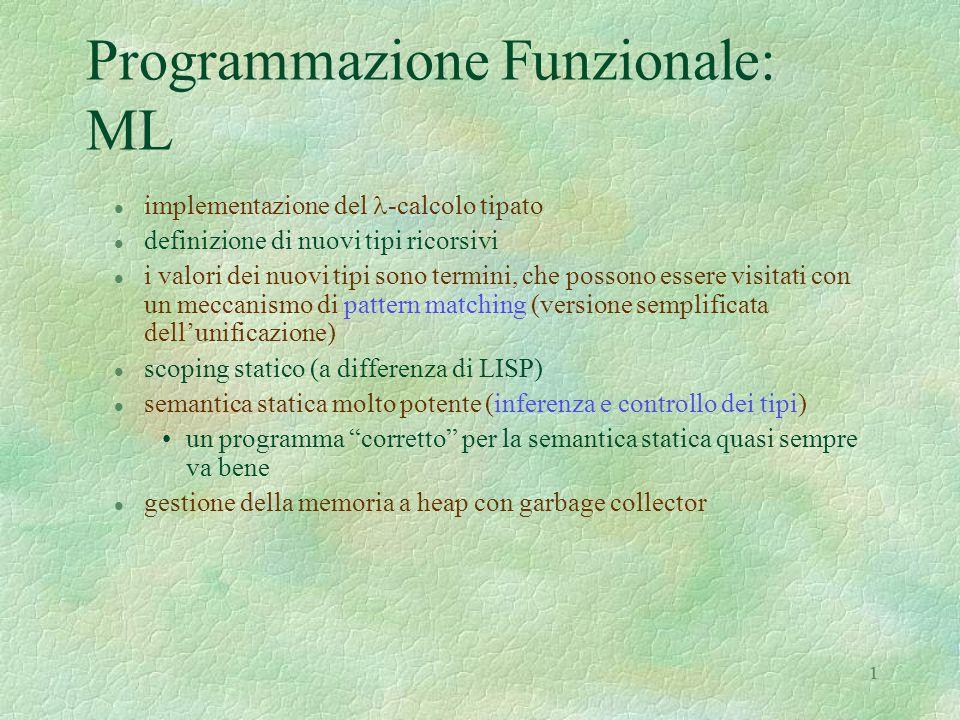 1 Programmazione Funzionale: ML 1 implementazione del -calcolo tipato l definizione di nuovi tipi ricorsivi l i valori dei nuovi tipi sono termini, che possono essere visitati con un meccanismo di pattern matching (versione semplificata dell'unificazione) l scoping statico (a differenza di LISP) l semantica statica molto potente (inferenza e controllo dei tipi) un programma corretto per la semantica statica quasi sempre va bene l gestione della memoria a heap con garbage collector
