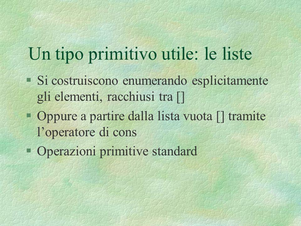 Un tipo primitivo utile: le liste §Si costruiscono enumerando esplicitamente gli elementi, racchiusi tra [] §Oppure a partire dalla lista vuota [] tra