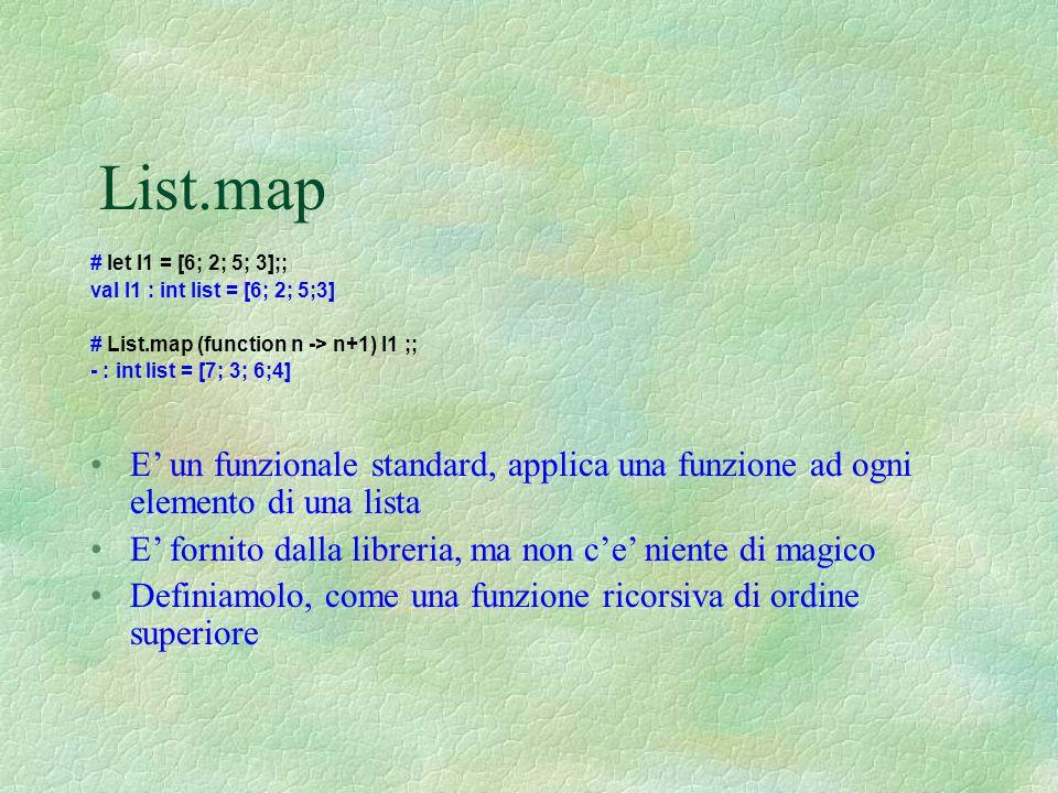 List.map # let l1 = [6; 2; 5; 3];; val l1 : int list = [6; 2; 5;3] # List.map (function n -> n+1) l1 ;; - : int list = [7; 3; 6;4] E' un funzionale st