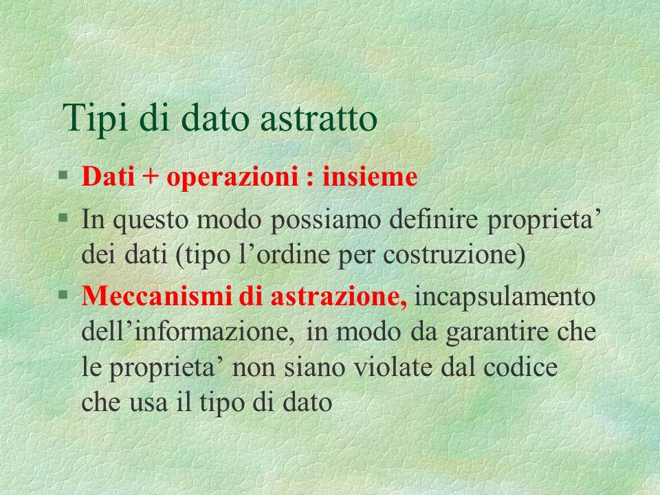 Tipi di dato astratto §Dati + operazioni : insieme §In questo modo possiamo definire proprieta' dei dati (tipo l'ordine per costruzione) §Meccanismi d