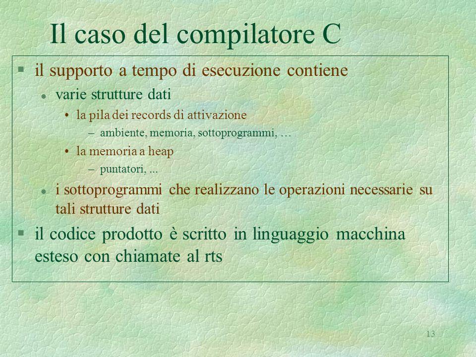 13 Il caso del compilatore C §il supporto a tempo di esecuzione contiene l varie strutture dati la pila dei records di attivazione –ambiente, memoria, sottoprogrammi, … la memoria a heap –puntatori,...