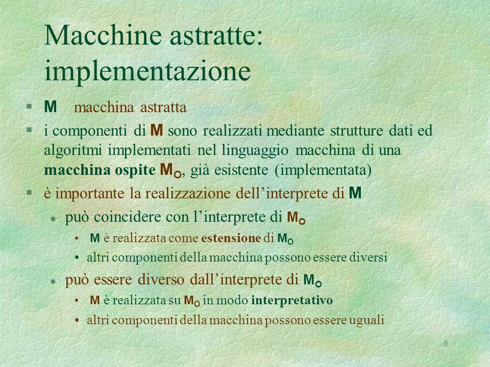 6 Macchine astratte: implementazione  M macchina astratta  i componenti di M sono realizzati mediante strutture dati ed algoritmi implementati nel linguaggio macchina di una macchina ospite M O, già esistente (implementata)  è importante la realizzazione dell'interprete di M può coincidere con l'interprete di M O M è realizzata come estensione di M O altri componenti della macchina possono essere diversi può essere diverso dall'interprete di M O M è realizzata su M O in modo interpretativo altri componenti della macchina possono essere uguali