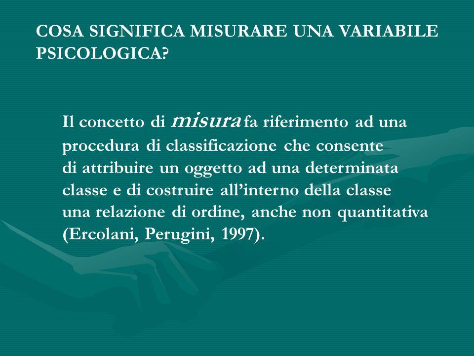COSA SIGNIFICA MISURARE UNA VARIABILE PSICOLOGICA.