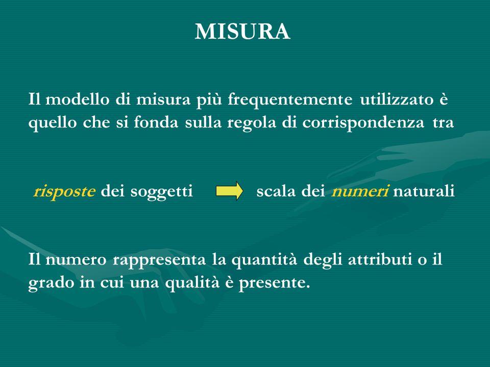 MISURA Il modello di misura più frequentemente utilizzato è quello che si fonda sulla regola di corrispondenza tra risposte dei soggetti scala dei numeri naturali Il numero rappresenta la quantità degli attributi o il grado in cui una qualità è presente.