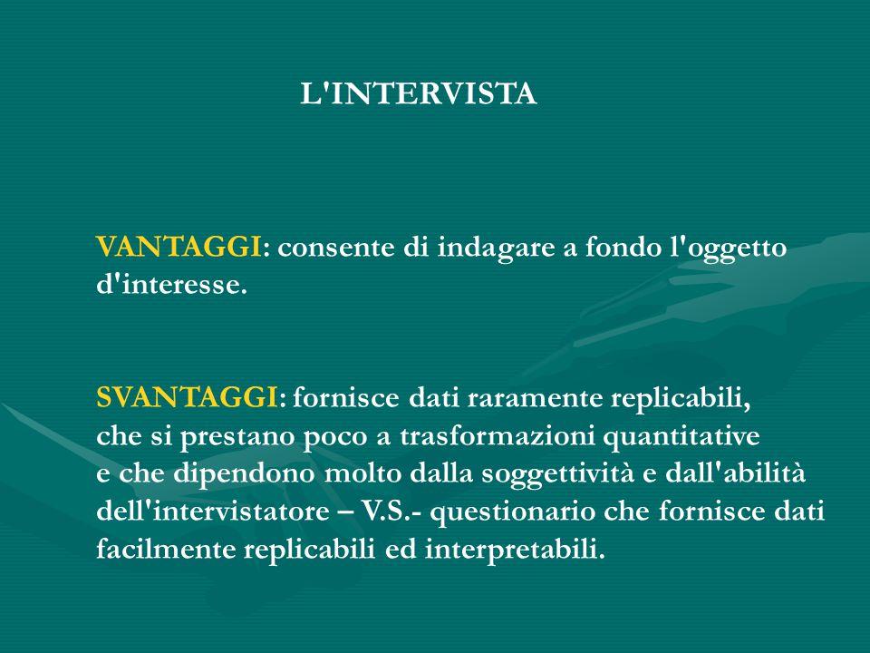 L INTERVISTA VANTAGGI: consente di indagare a fondo l oggetto d interesse.