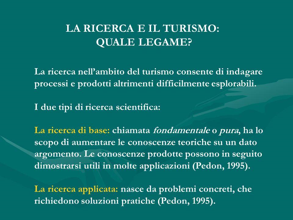 LA RICERCA E IL TURISMO: QUALE LEGAME.