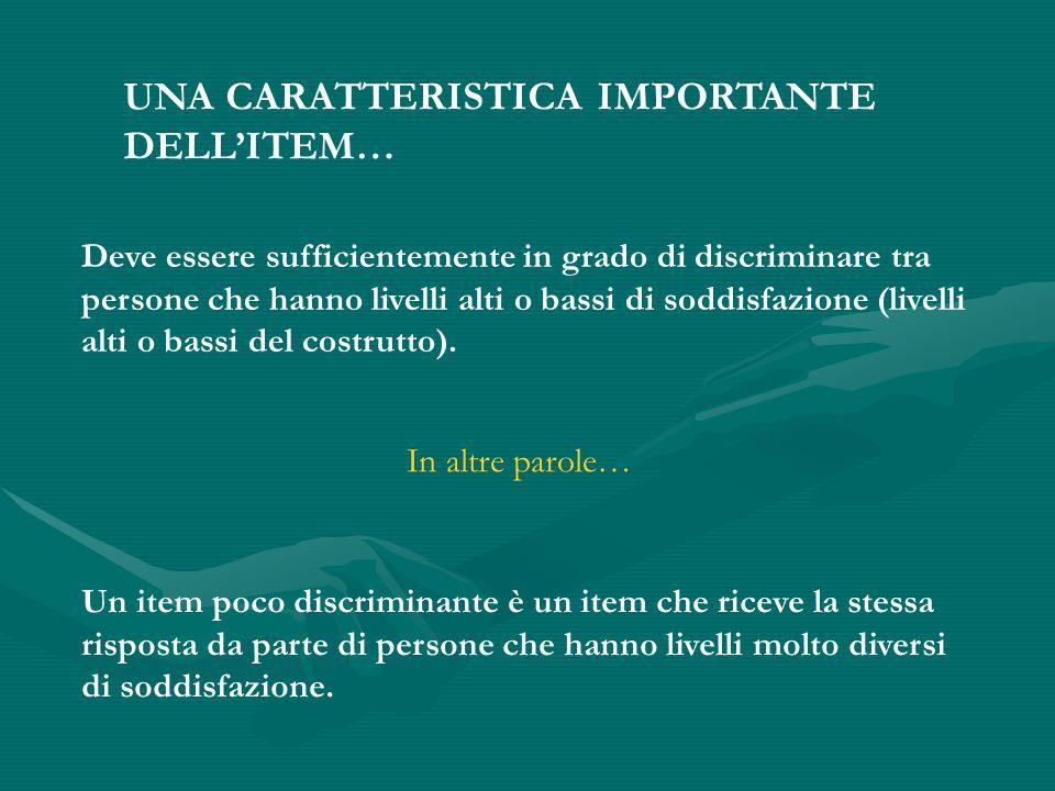 UNA CARATTERISTICA IMPORTANTE DELL'ITEM… Deve essere sufficientemente in grado di discriminare tra persone che hanno livelli alti o bassi di soddisfazione (livelli alti o bassi del costrutto).