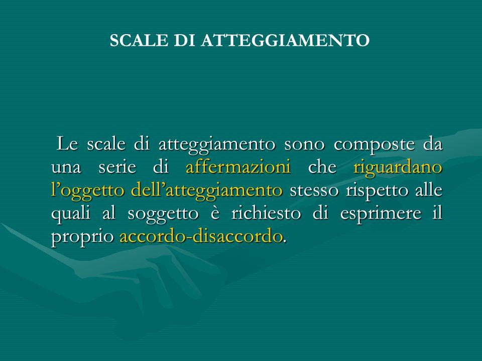 Le scale di atteggiamento sono composte da una serie di affermazioni che riguardano l'oggetto dell'atteggiamento stesso rispetto alle quali al soggetto è richiesto di esprimere il proprio accordo-disaccordo.