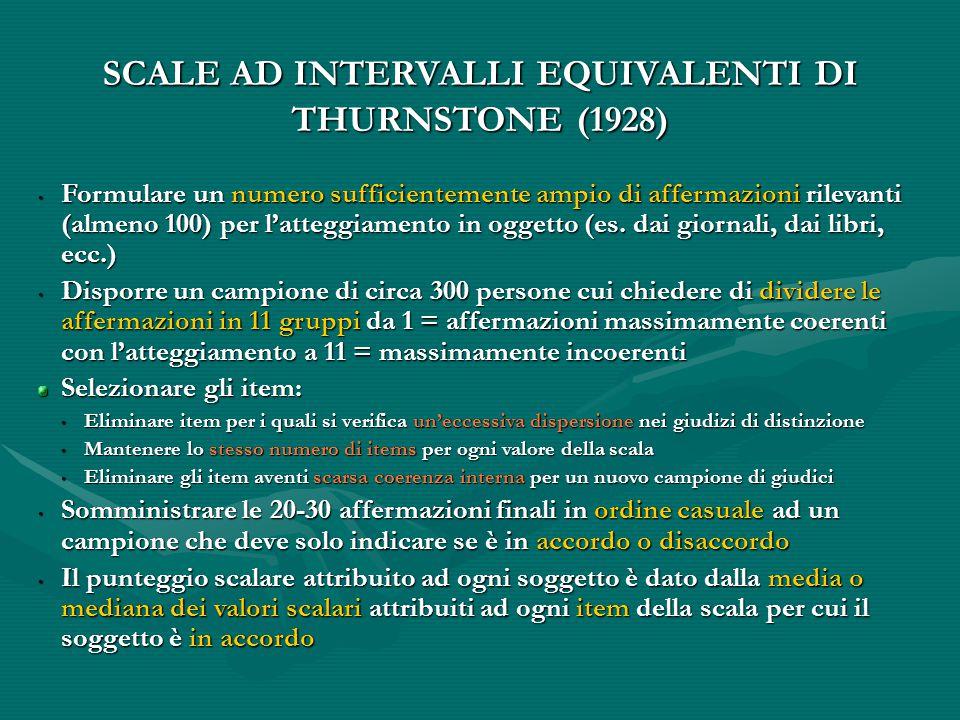 SCALE AD INTERVALLI EQUIVALENTI DI THURNSTONE (1928)  Formulare un numero sufficientemente ampio di affermazioni rilevanti (almeno 100) per l'atteggiamento in oggetto (es.