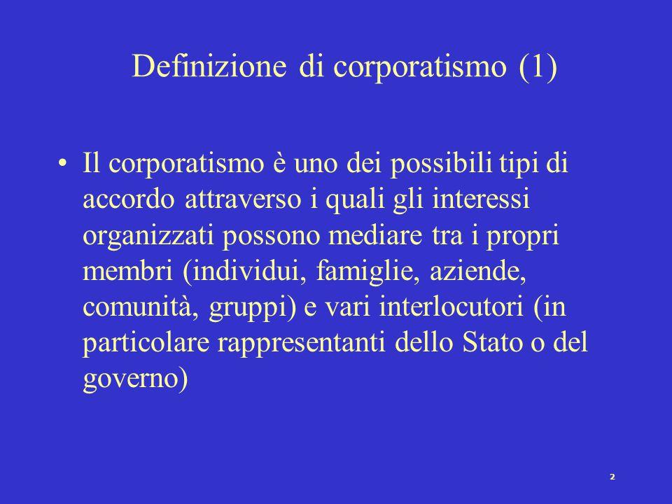 """1 Struttura lettura """"Corporativismo/Corporatismo"""" (Schmitter) Il corporatismo (neocorporativismo) come metodo di mediazione degli interessi Corporatis"""