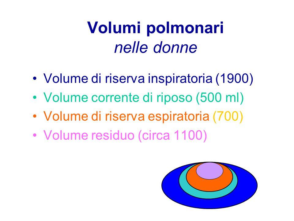 Volumi polmonari nelle donne Volume di riserva inspiratoria (1900) Volume corrente di riposo (500 ml) Volume di riserva espiratoria (700) Volume residuo (circa 1100)