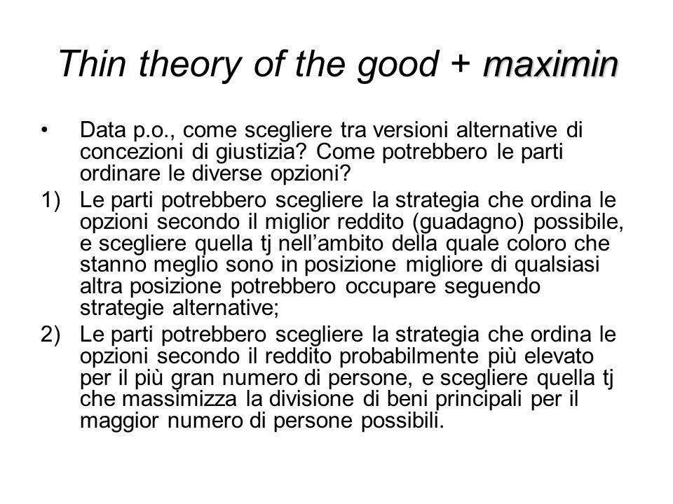 maximin Thin theory of the good + maximin Data p.o., come scegliere tra versioni alternative di concezioni di giustizia.