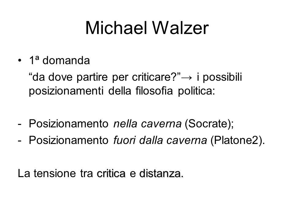 Michael Walzer 1ª domanda da dove partire per criticare → i possibili posizionamenti della filosofia politica: -Posizionamento nella caverna (Socrate); -Posizionamento fuori dalla caverna (Platone2).