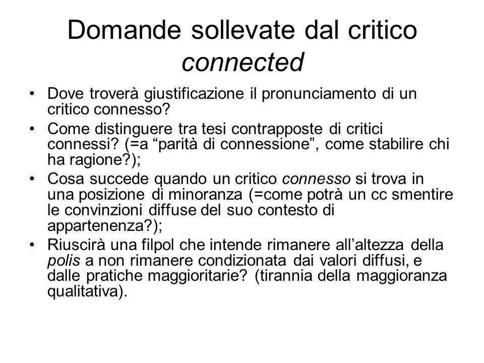 Domande sollevate dal critico connected Dove troverà giustificazione il pronunciamento di un critico connesso.