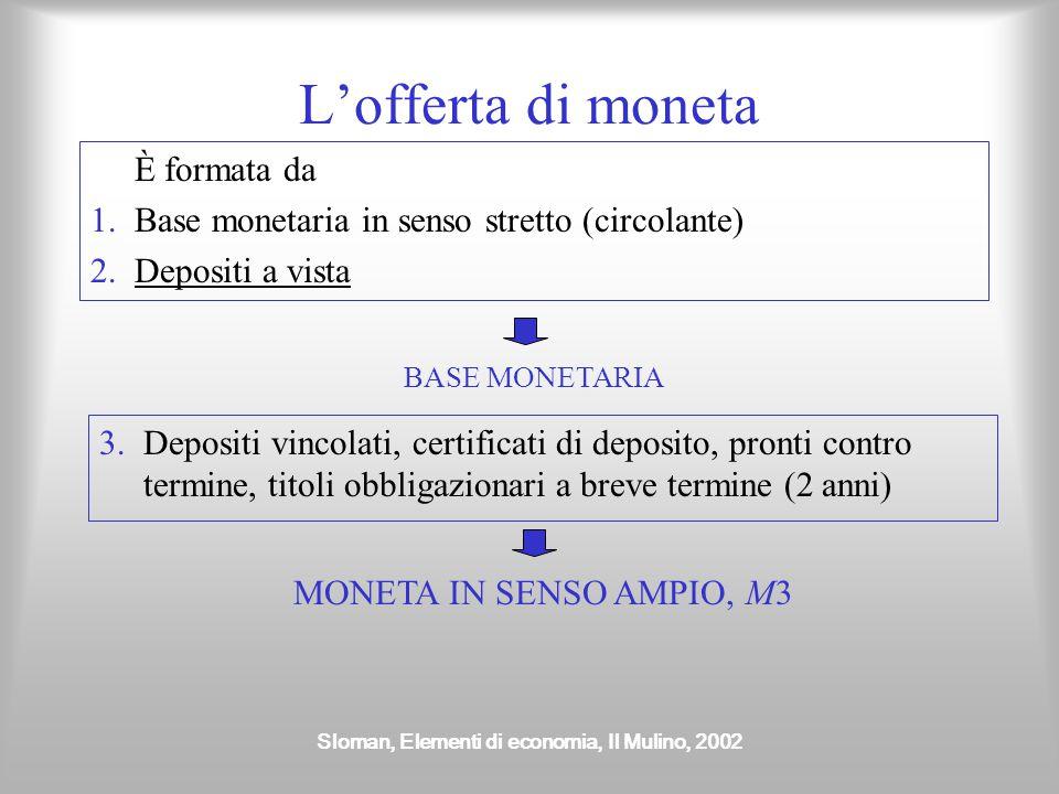 Sloman, Elementi di economia, Il Mulino, 2002 L'offerta di moneta È formata da 1.Base monetaria in senso stretto (circolante) 2.Depositi a vista 3.Dep