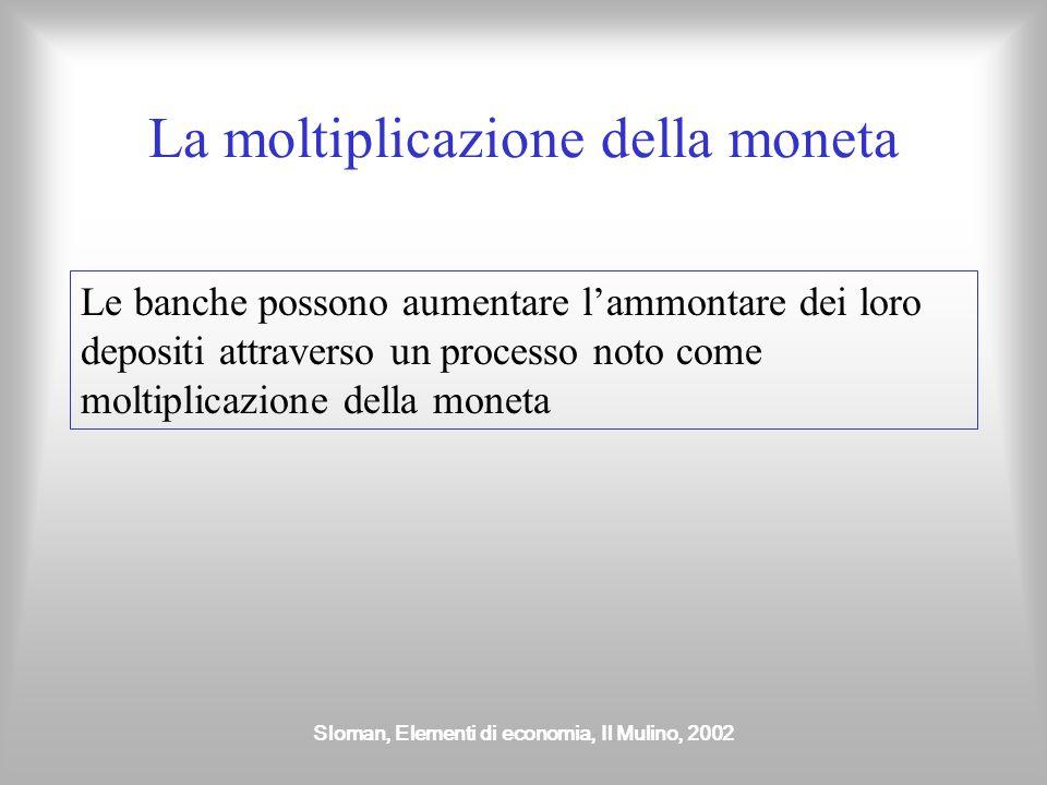 Sloman, Elementi di economia, Il Mulino, 2002 La moltiplicazione della moneta Le banche possono aumentare l'ammontare dei loro depositi attraverso un