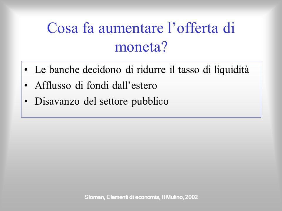 Sloman, Elementi di economia, Il Mulino, 2002 Cosa fa aumentare l'offerta di moneta? Le banche decidono di ridurre il tasso di liquidità Afflusso di f