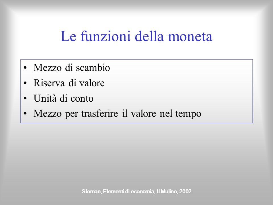 Sloman, Elementi di economia, Il Mulino, 2002 Le funzioni della moneta Mezzo di scambio Riserva di valore Unità di conto Mezzo per trasferire il valor