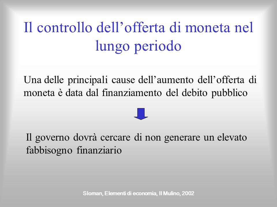 Sloman, Elementi di economia, Il Mulino, 2002 Il controllo dell'offerta di moneta nel lungo periodo Una delle principali cause dell'aumento dell'offer