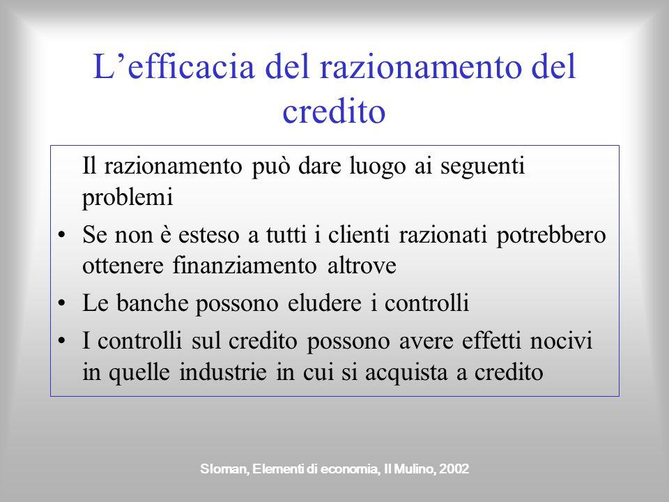 Sloman, Elementi di economia, Il Mulino, 2002 L'efficacia del razionamento del credito Il razionamento può dare luogo ai seguenti problemi Se non è es