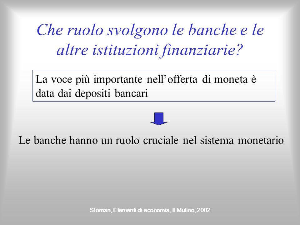 Sloman, Elementi di economia, Il Mulino, 2002 Le banche Si distinguono in Banche commerciali (banche al dettaglio) Banche di affari (banche di investimento, banche all'ingrosso)